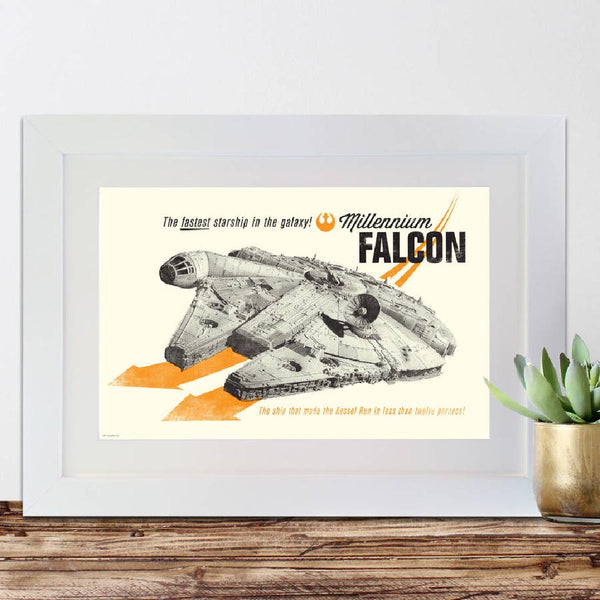 Star Wars Retro Millennium Falcon Framed Print - Instajunction