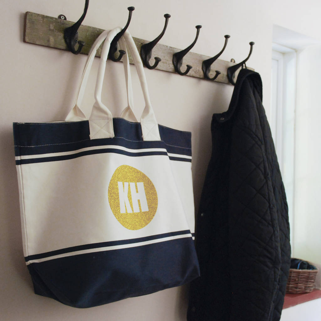 Summer Canvas Beach Bag With Personalised Initials - Instajunction