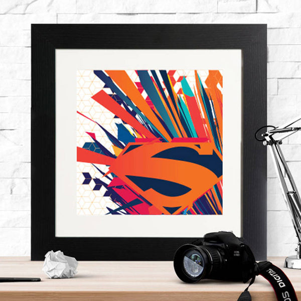 Superman Badge Explosion Framed Print - Instajunction