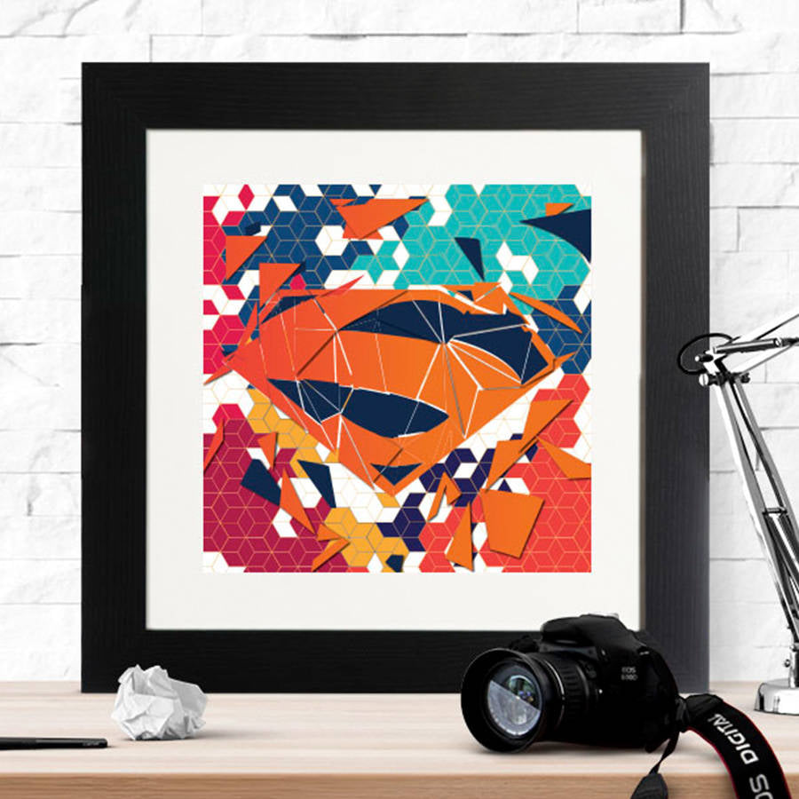 Superman Geometric Badge Framed Print - Instajunction