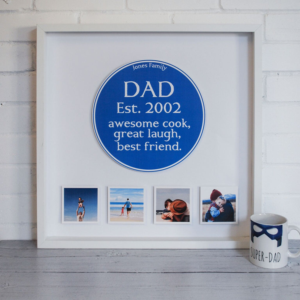 Personalised Family Blue Plaque 3D Box Frame - Instajunction