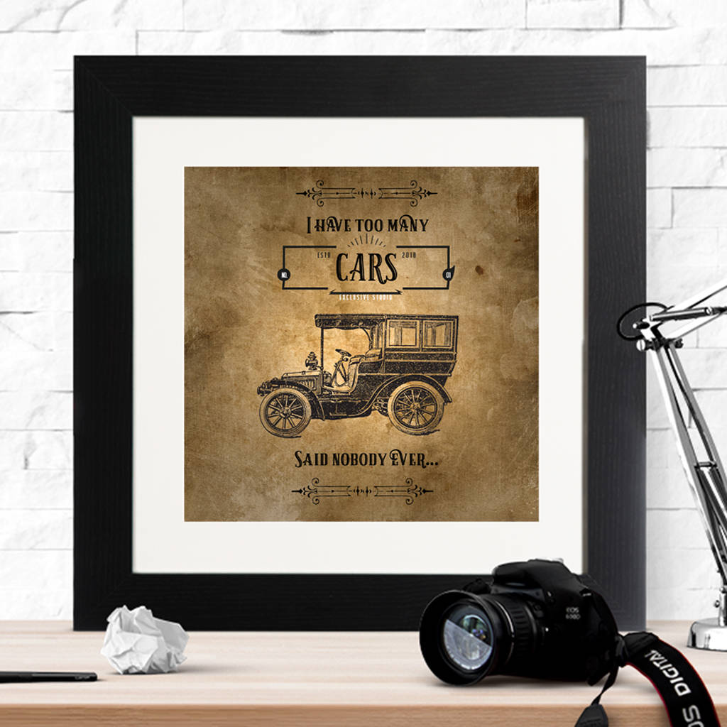 Vintage Style 'I Have Too Many?' Framed Print - Instajunction