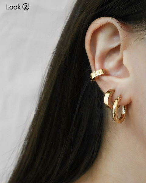 Bold Rei Hoops with Bullet Ear Cuffs - The Hexad