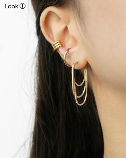 Slither earrings paired with no piercing ear cuffs - The Hexad