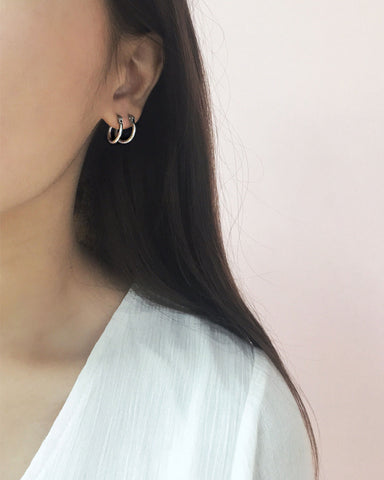 15mm baby sized hoops in silver - The Hexad Jewelry