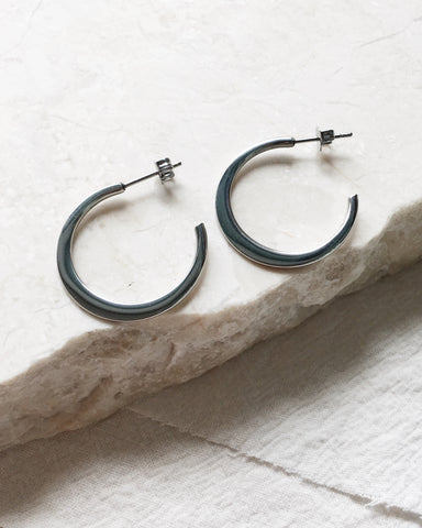 25mm Crescent Shape Hoops in Silver - The Hexad Earrings