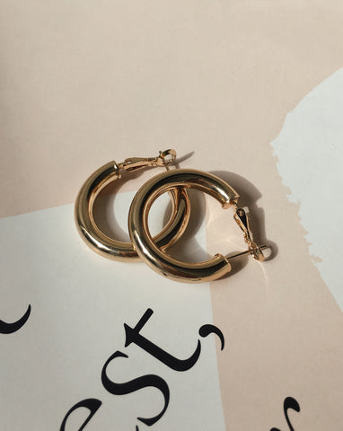 28mm gold hoop earrings - the smallest of the Kyo Hoops range by The Hexad