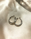 28mm silver chunky hoop earrings - the smallest of the Kyo Hoops range by The Hexad