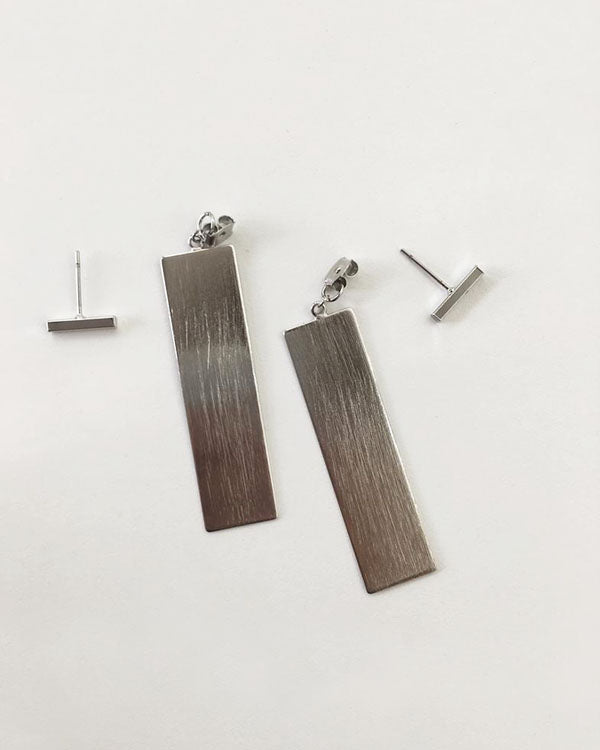 2way sleek drop bars and rectangle studs earrings - The Hexad Jewelry