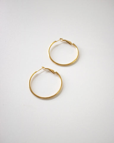 30mm diameter skinny gold hoop earrings - The Hexad