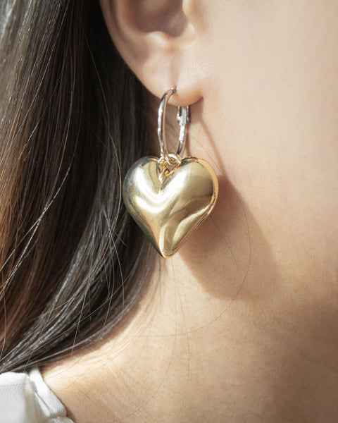 3D heart bauble earrings by The Hexad