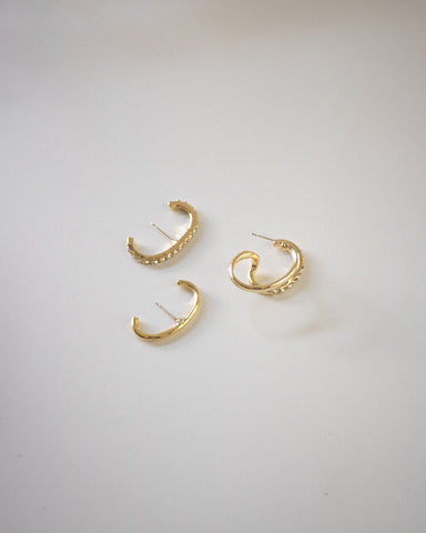 3 piece suspender earrings set in gold - The Hexad