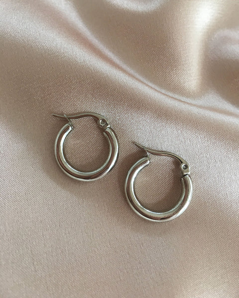 3mm thick classic silver hoops - The Hexad Jewelry