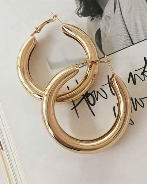 50mm large thick hollow hoop earrings - The Hexad