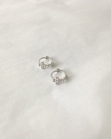 8mm huggie hoops with a tiny cross set in rhinestones @thehexad