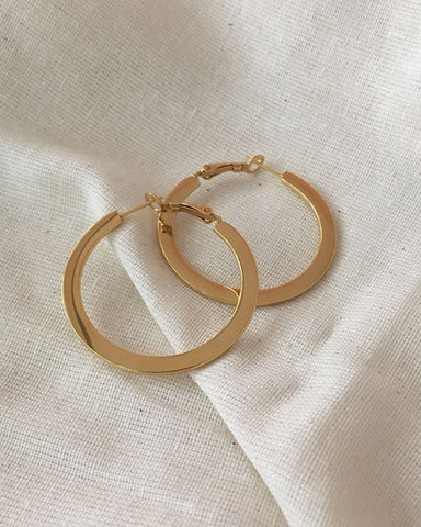 A flat take on the basic hoops, 40mm - The Hexad Jewelry