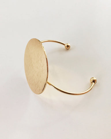 BRUSHED Disc Cuff Bangle in Gold - The Hexad