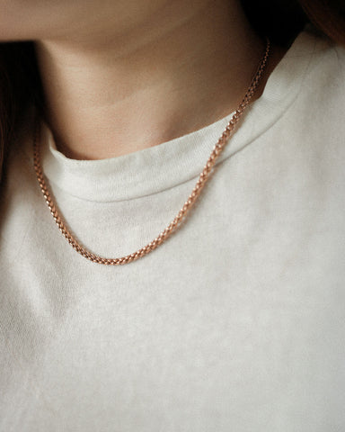Barley textured necklace in stainless steel rose gold plated - The Hexad Jewellery