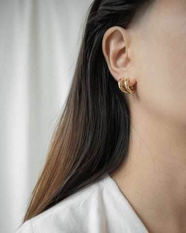 Basic gold hoop earrings in the perfect size for everyday wear - The Hexad Jewelry