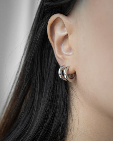 Basic silver hoop earrings in the perfect size for everyday wear - The Hexad Jewelry