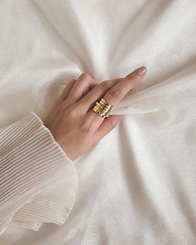 Beautiful layered gold statement ring by THE HEXAD