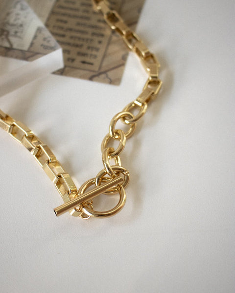 Bold Parallel Choker in gold by The Hexad