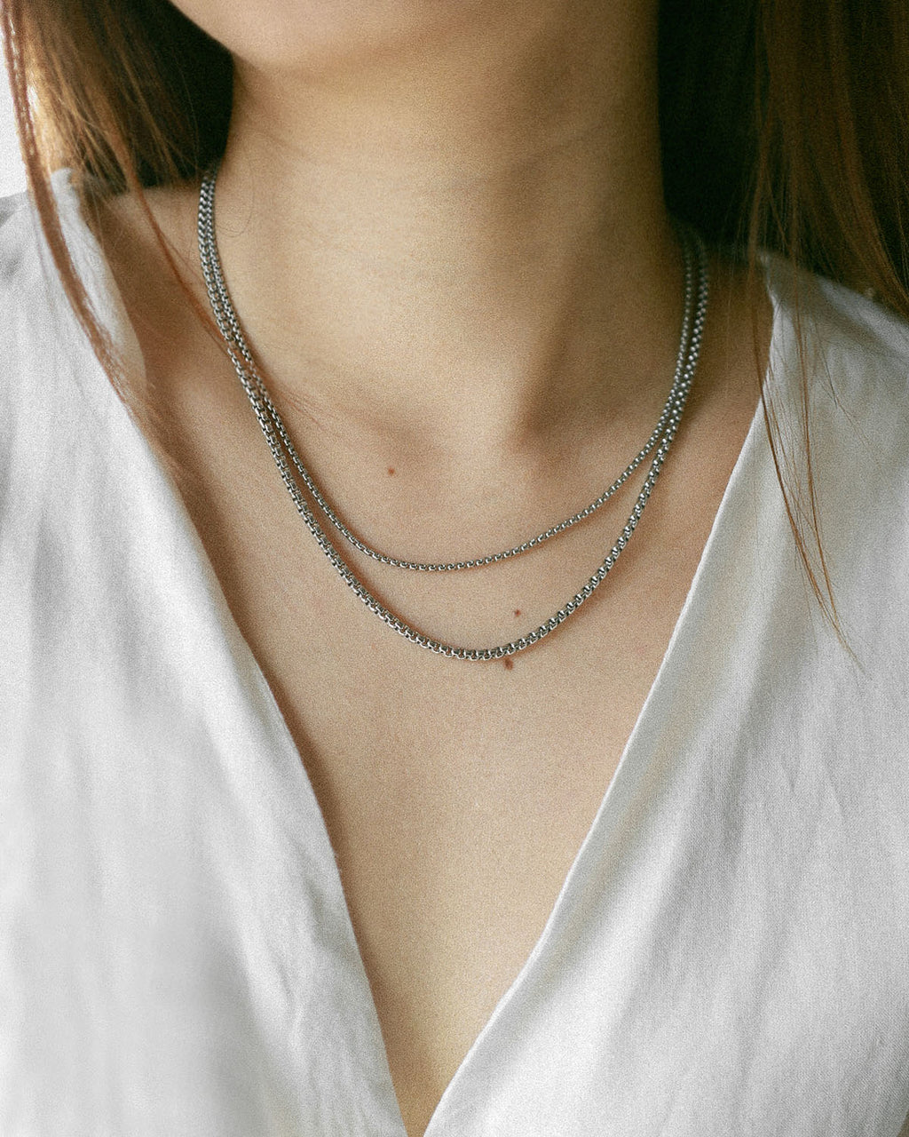 Box chain necklaces in silver by The Hexad