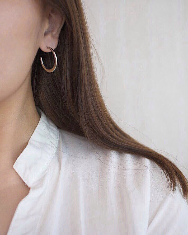 CERA Crescent Hoops in Silver - The Hexad Earrings
