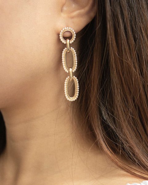 Channel a timeless classy look with these Audrey Hepburn inspired pearl dangle earrings by The Hexad