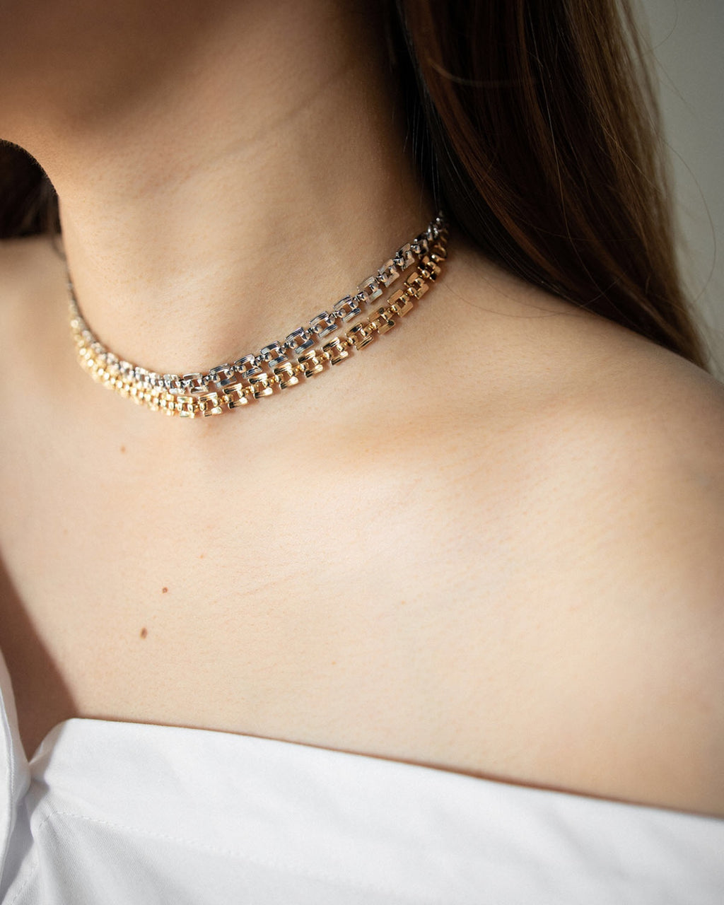 Chic choker necklace crafted in gold and silver metal - Shop the Tetris Chokers at thehexad