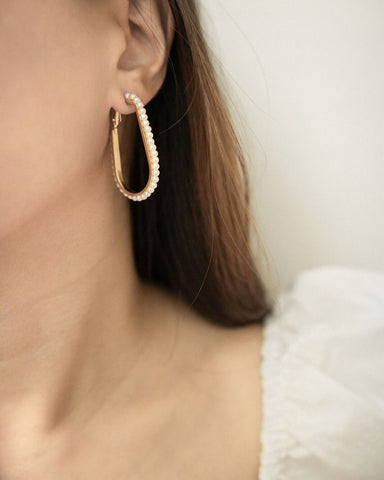 Chic fashion earrings crafted from gold metal alloy and pearls - The Hexad Hoop Earrings