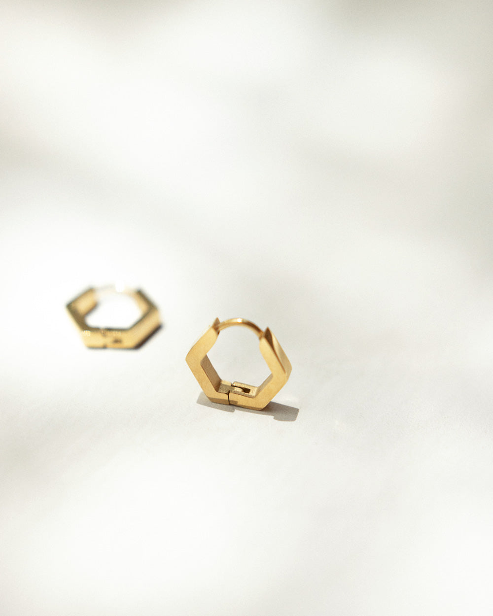 Chic hexagon shape hoop earrings for casual everyday style - The Hexad