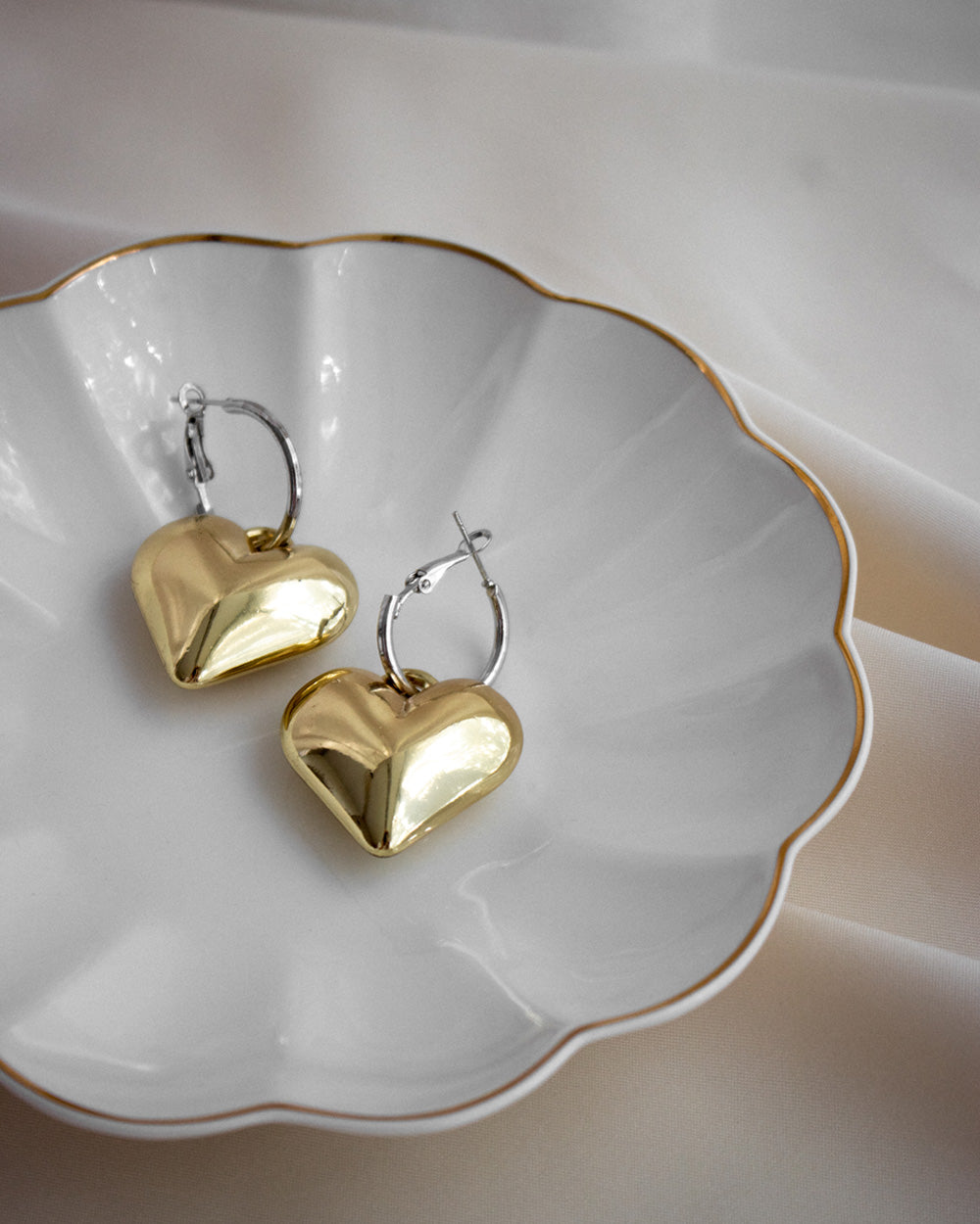 Chubby heart shape charm earrings with a chic silver hoop - The Hexad