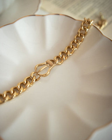 Chunky gold chain choker with a belt design - The Hexad