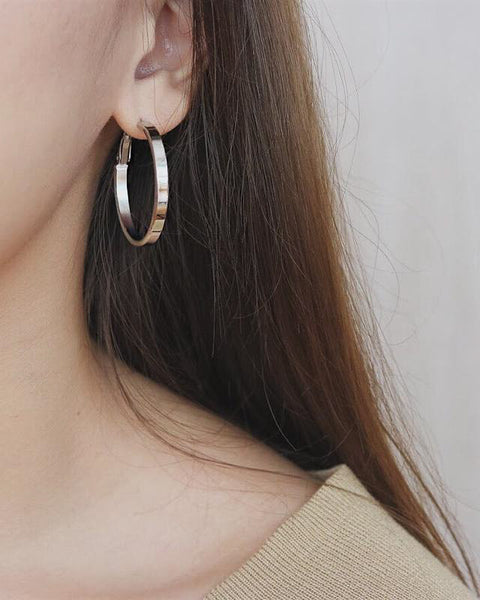 Classic Silver Hoops - The Hexad Jewelry