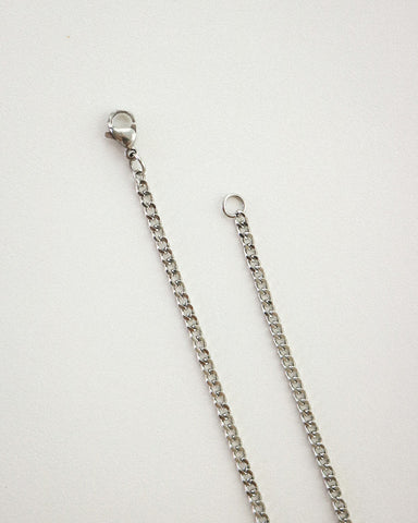 Classic silver curb chain necklace by The Hexad Jewelry
