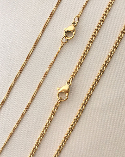 Classic thin gold chains with lobster clasp - The Hexad Jewelry