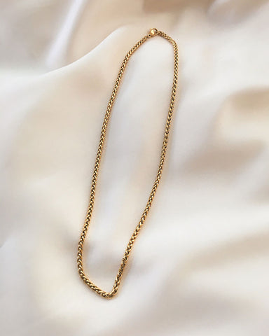 Classic woven wheat chain in gold-plated stainless steel - The Hexad Jewelry