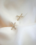 Classy diamante ear studs in a chic X shape | TheHexad Jewellery