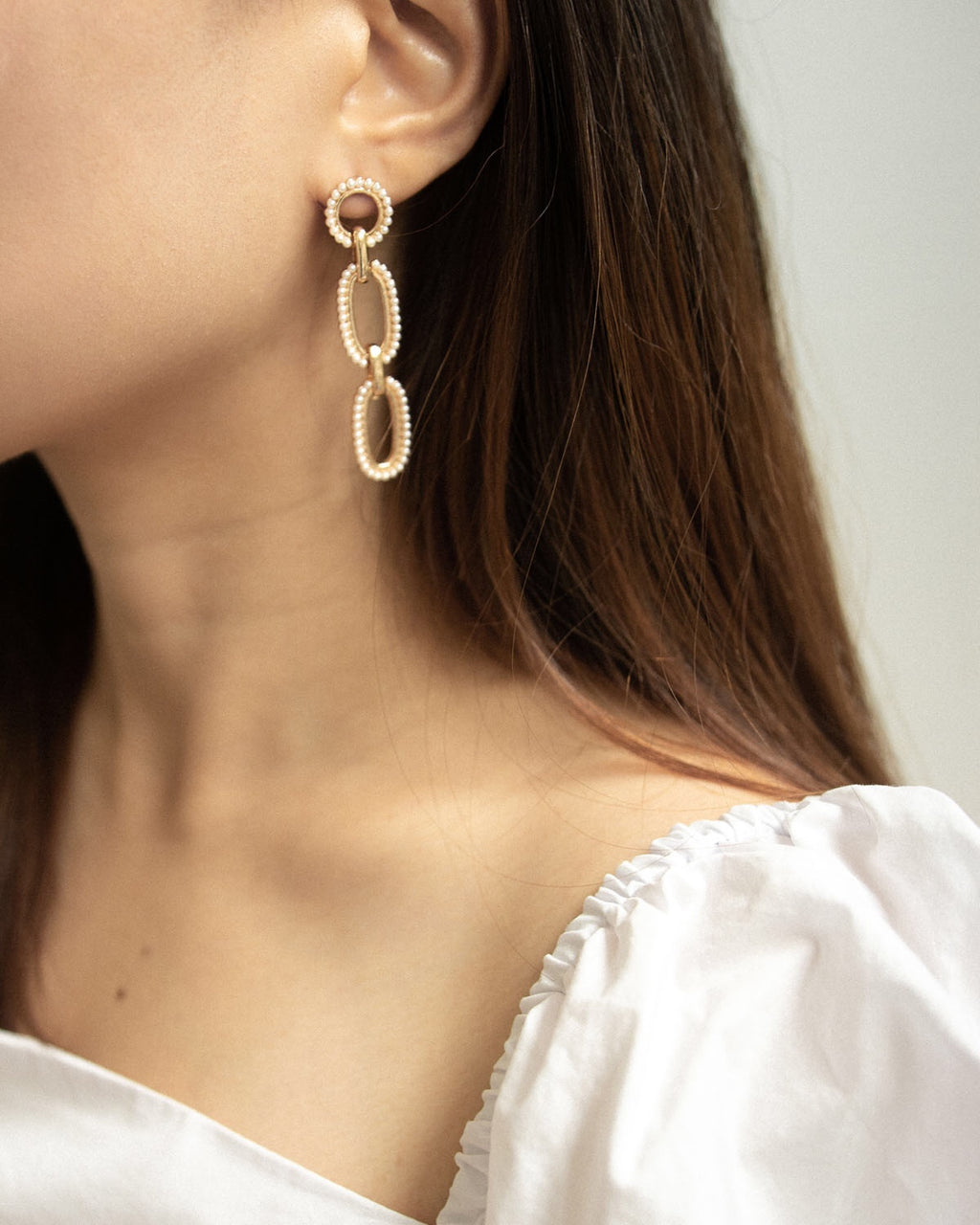 Classy drop earrings embellished with faux pearls - The Hexad Jewelry