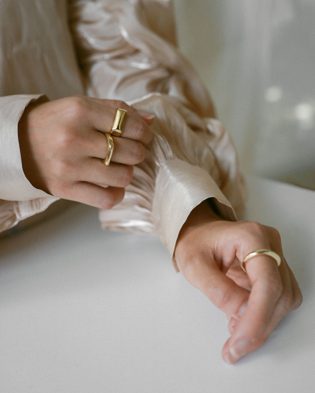 Classy minimalistic rings designed to be worn together - shop the effortless Sage rings at www.thehexad.com