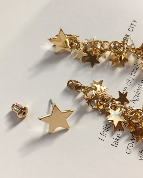 Close up details of the star studs that can be worn on its own - Vegas Stardust Earrings - TheHexad