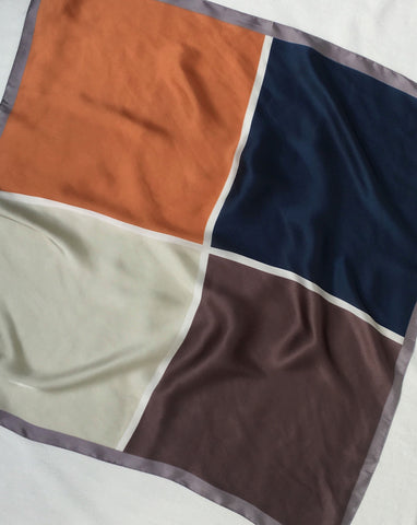 Colorblock square scarf in orange tan, navy and brown - The Hexad