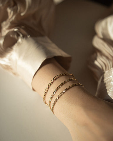 Contemporary chain bracelets made to be worn singly or layered with multiple pieces for a stacked effect | The Hexad