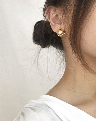 Cora ball earrings in gold by The Hexad Jewelry