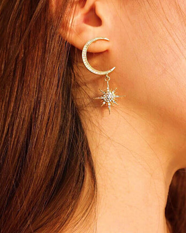 Cosmic inspired drop earrings featuring a crescent moon and star - The Hexad