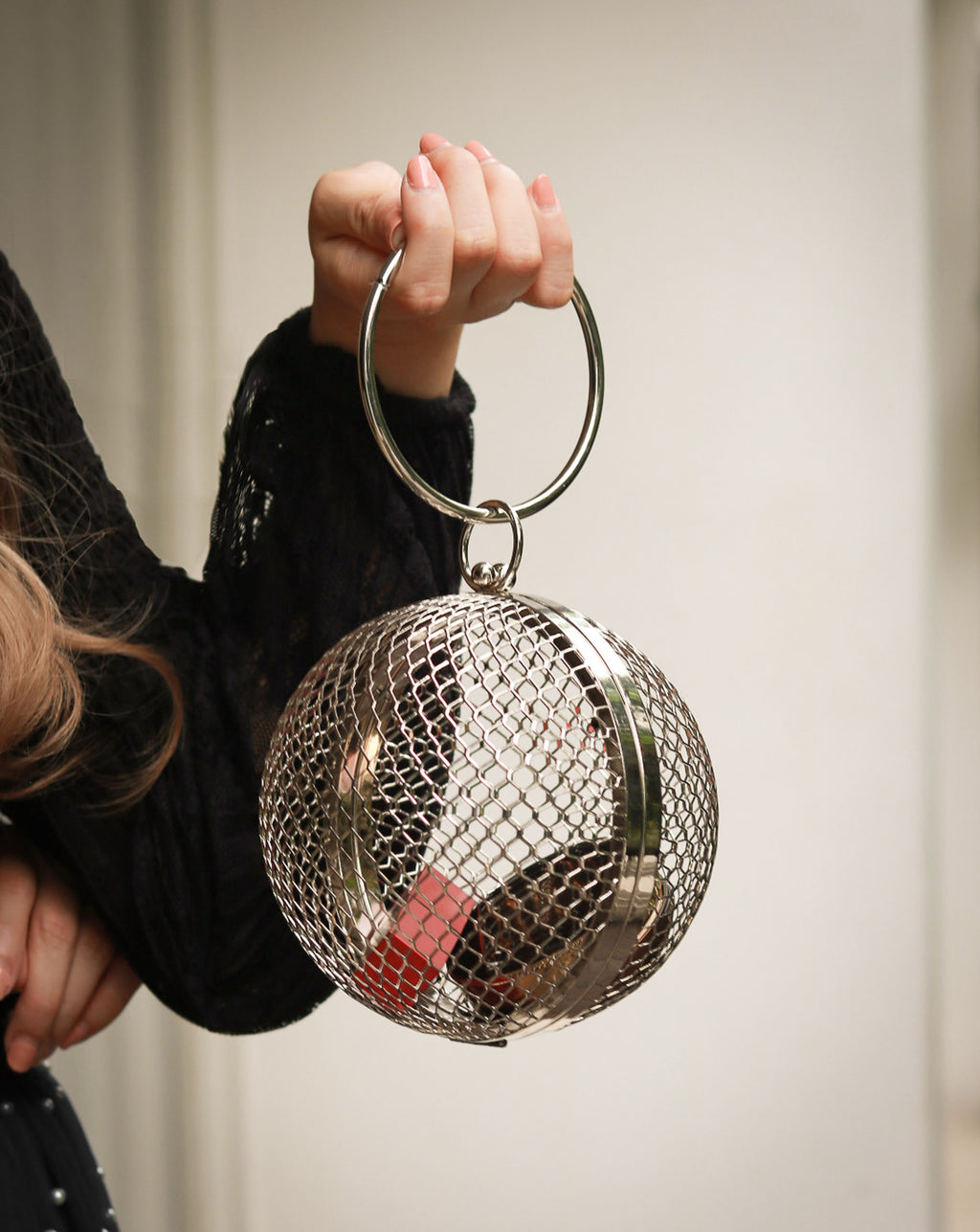 Crater Spherical Clutch Bag in Silver - The Hexad