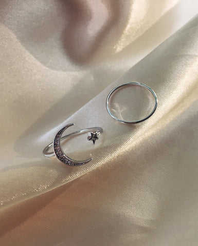 Crescent moon and star with sparkly zirconia stones - Lunar Ring Set - TheHexad