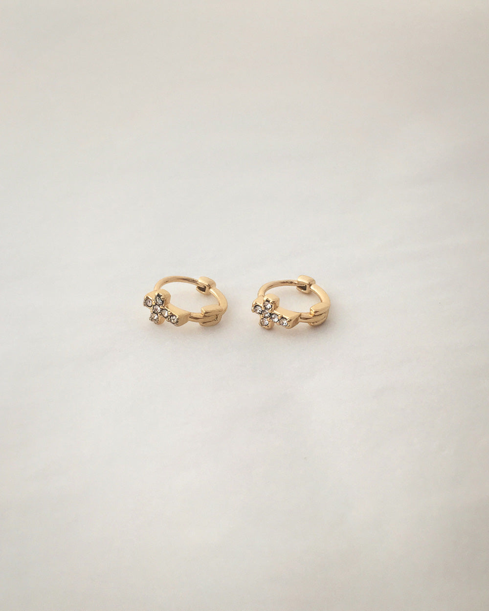 Cross Huggie Hoop earrings with tiny sparkly rhinestones @thehexad