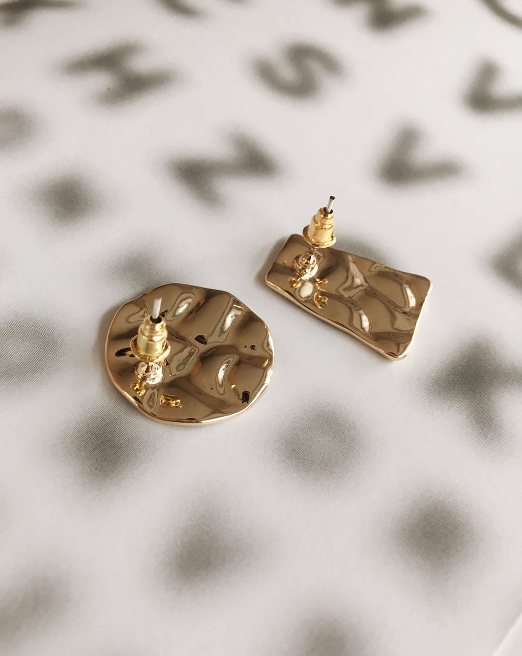 Deliberately mismatched - this oval and trapezium hammered earrings will add a fun twist to any outfit - The Hexad